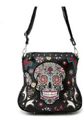 Sugar Skull Purse Cross Body Bag with Concealed Carry Pocket
