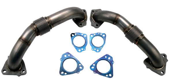 "Wehrli Custom Fab 17-20 L5P Duramax 2"" Stainless Up Pipe Kit for OEM Manifolds w/ Gaskets"