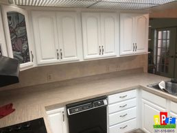 kitchen cabinets refinished in white
