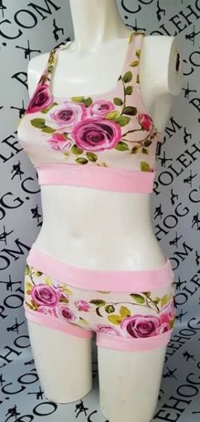 Pink English rose velvet racer top