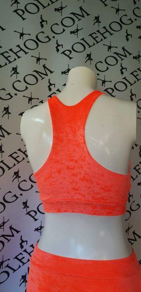 Orange crushed velvet racer top