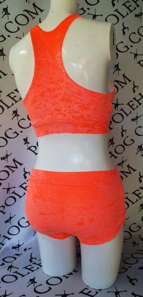 Orange crushed velvet bottoms