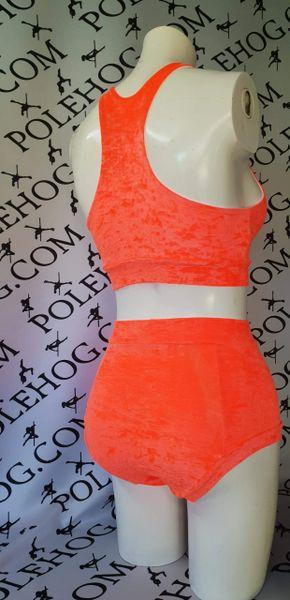 Orange crushed velvet (full) high waisted panel pant