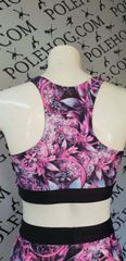 Pink Fantasy flowers racer back top