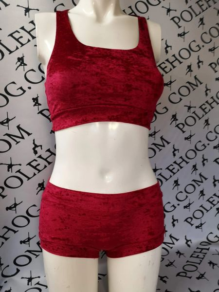 Wine red crushed velvet racer back