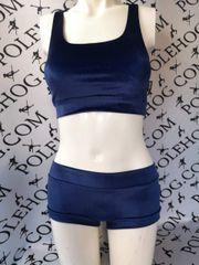 Navy blue smooth velvet bottoms