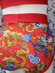 Red Chinese dragon (full) high waisted fitted pant