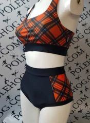 Tartan (side) high waisted fitted pant
