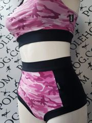 pink camo (black sides) high waisted fitted pant