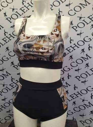 King skulls (side) high waisted fitted pant