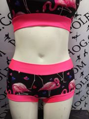 Love flamingo bottoms with coral banding.