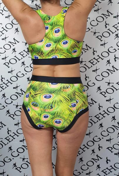 Green peacock (full) high waisted fitted pant