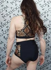Leopard snake (side) high waisted fitted pant