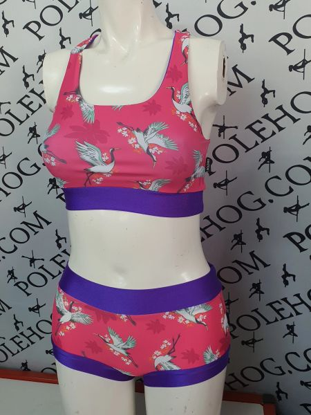 Pink crane racer back top
