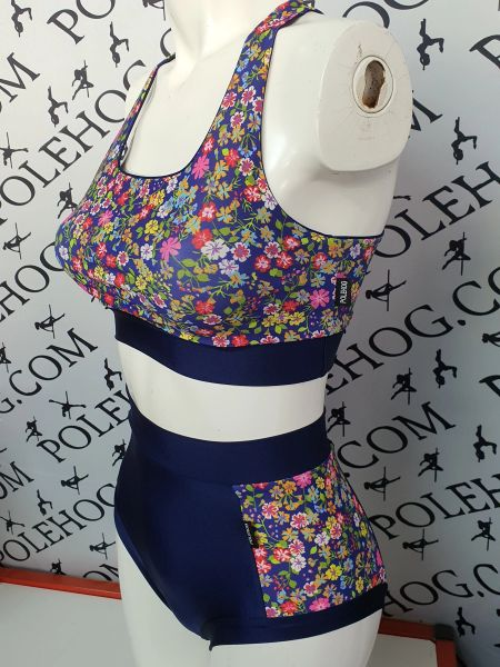 Navy wildflowers (side) high waisted fitted pant