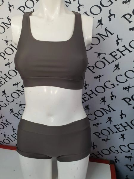 Taupe perform racer back top