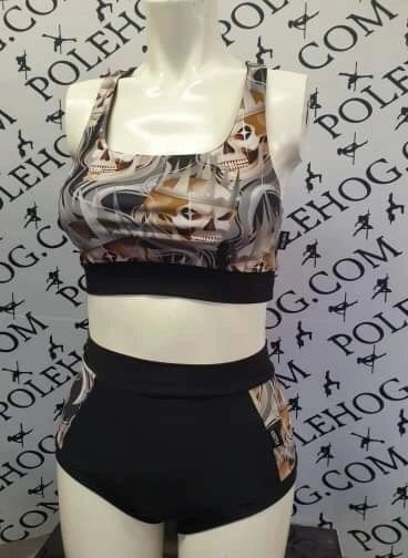 King of skulls (side) high waisted fitted pant bb