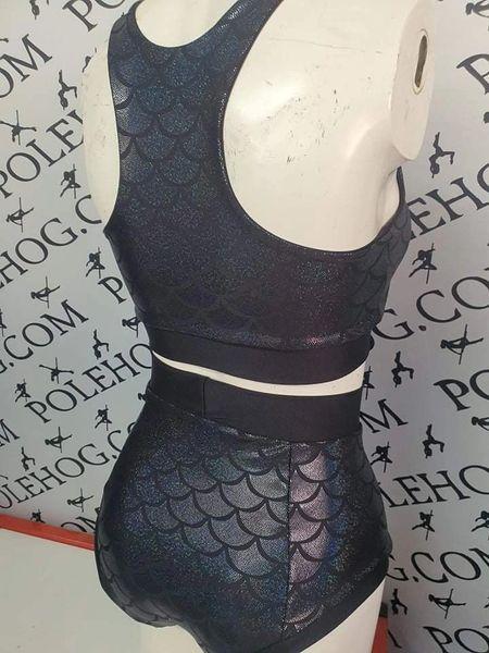 Black holographic mermaid (full) high waisted panel pant