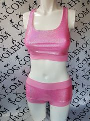 Pink diamond dust racer top