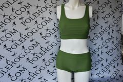 Army green racer back top
