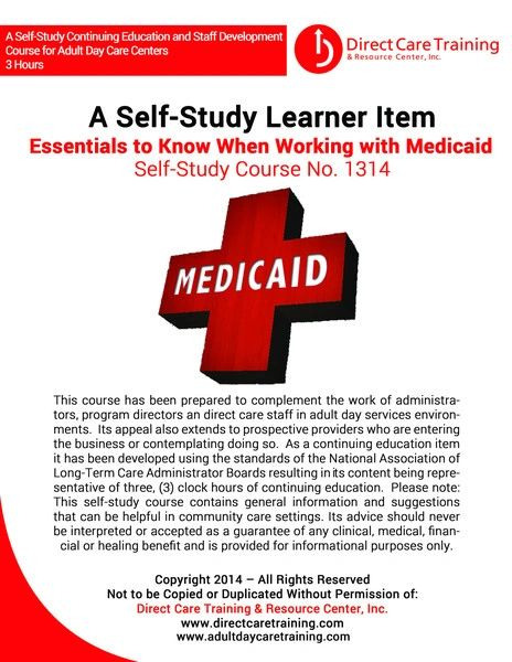 Adult Day Care Training Course No. 1314 - Essentials to Know When Working with Medicaid (3 CEU)