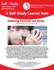 Adult Foster Care Course No. 1122 - Reducing Personal Job Stress (3 CEUs)