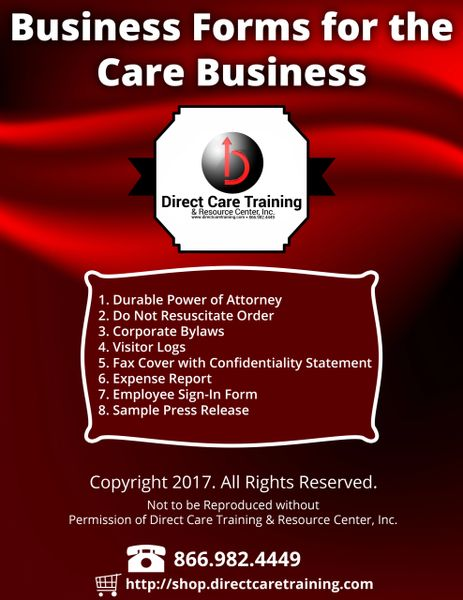 Business Forms Kit for Care Providers