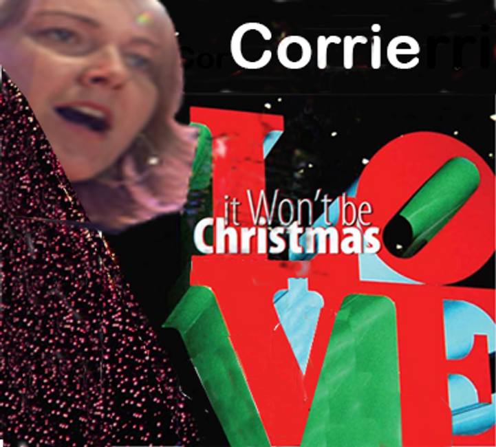 Corrie W. Maxwell sings by the Philadelphia Love statue at Christmas; modified cd cover for 2020