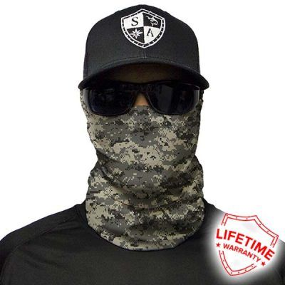 SA Fishing Face Shield Digital Grey Camo