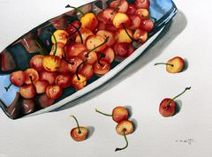 Cherries in Silver Dish