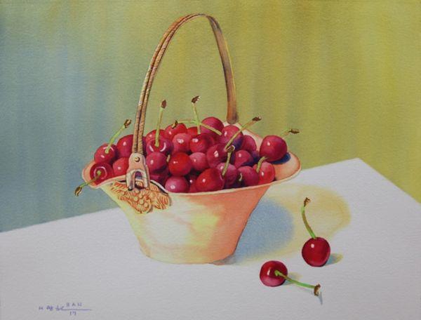 Cherries in Gold Basket