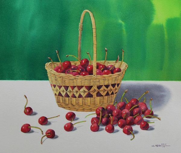 Cherries in Wooden Basket