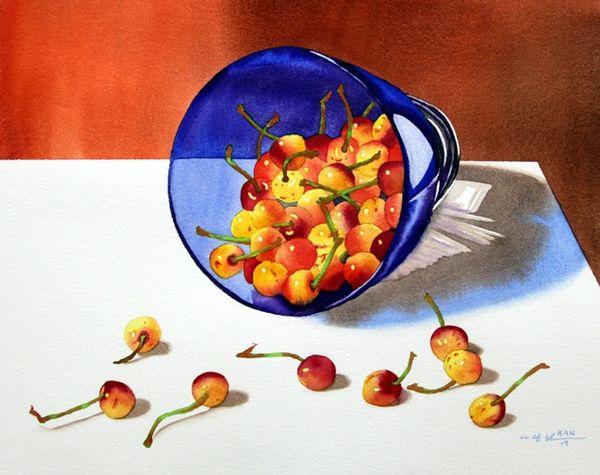 Cherries in Blue Bowl I