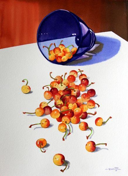 Cherries in Blue Bowl II