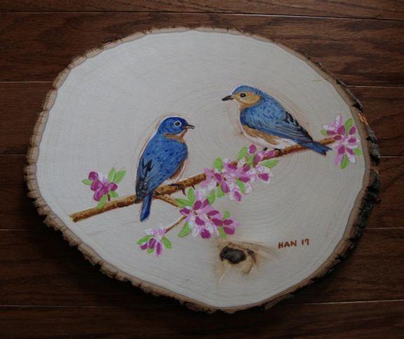 Wood - Blue Bird Couple