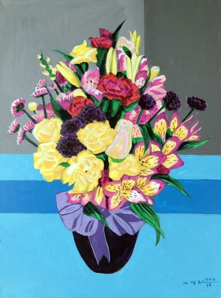 Flower Bouquet -Purple Vase