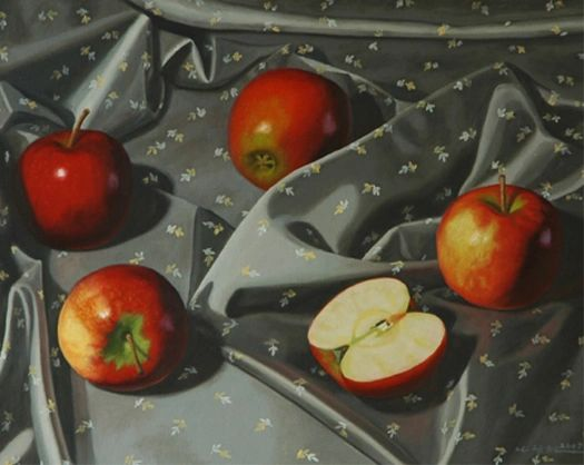 Apples on Gray - Framed