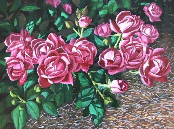 Pink Roses in Garden - Framed