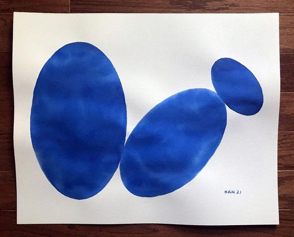 U - Oval Shape - Blue