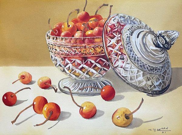 Cherries in Glass Bowl
