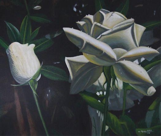 White Roses - Framed