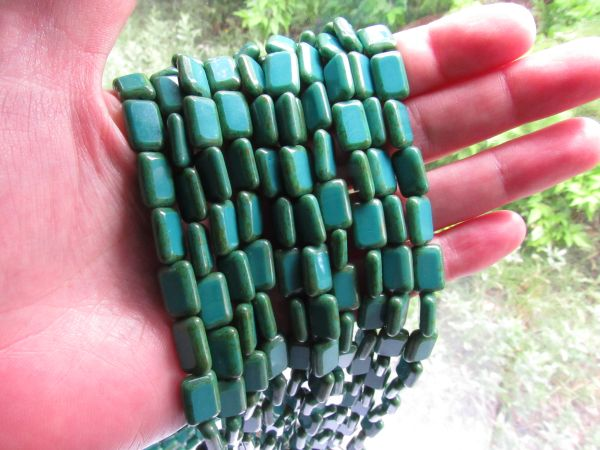12/8mm Table Cut BEADS CZECH GLASS Rectangle Opaque Persian Turquoise Picasso Strand Window bead supply