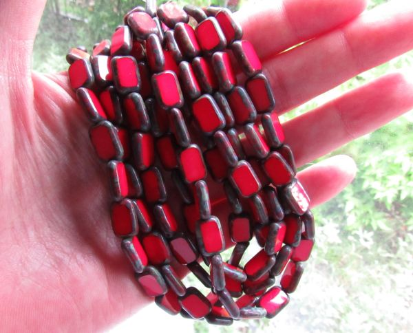 CZECH GLASS Window Table Cuts 12/8mm Opaque Ruby Red 24 pc Strand supplies for making jewelry