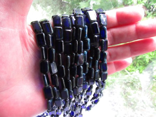 CZECH Glass BEADS Table Cuts Window Cobalt Blue 12x8mm Rectangle bead supply for making jewelry