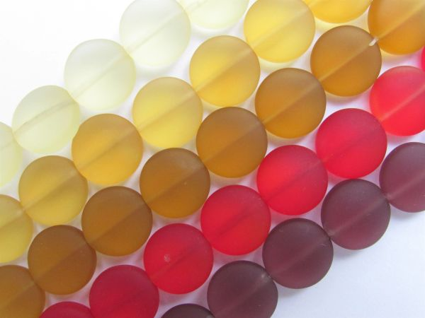 12mm Coin BEADS assorted Cultured Sea Glass RED YELLOW Strands for making jewelry