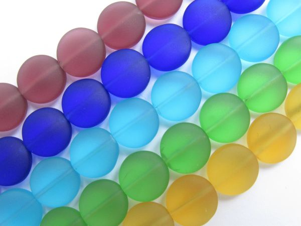 Cultured Sea GLASS BEADS 12mm Coin Assorted Cultured 5 Strands bead supply for making jewelry