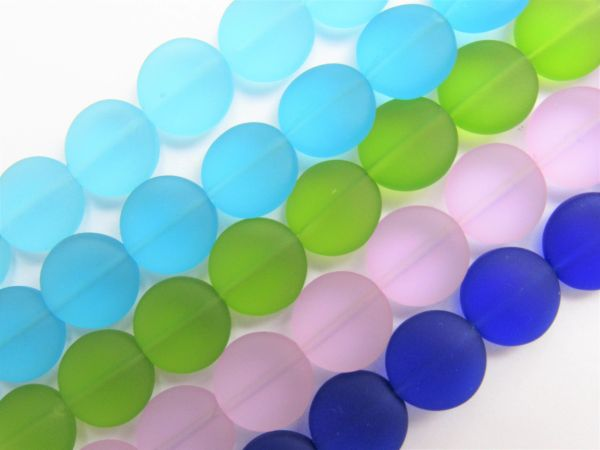 Cultured Sea GLASS BEADS 12mm Coin Assorted Strands bead supply for making jewelry