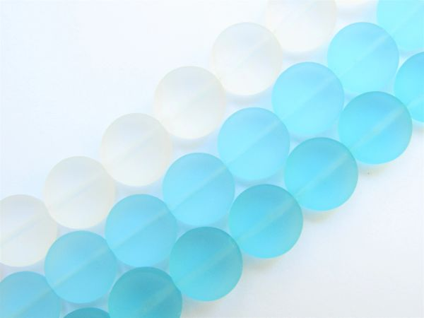 Cultured Sea Glass BEADS 12mm Coin assorted Light AQUA Blue 3 strands for making jewelry
