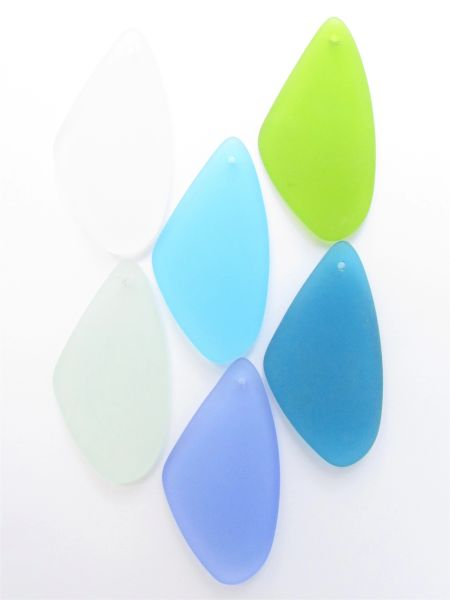 Cultured Sea Glass PENDANTS 53x22mm Triangle Necklace Pendant 6 pc Assorted Blue Green Top Drilled for making jewelry