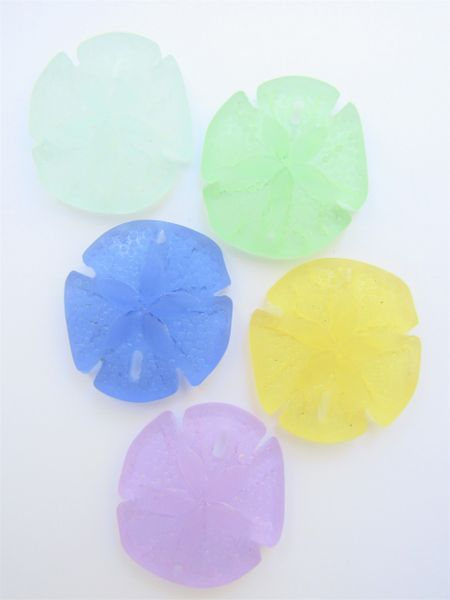 Cultured Sea Glass PENDANTS Sand Dollar 40x36mm Assorted 5 pc bead supply for making jewelry